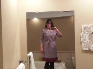 Merona dress, thrifted; ribbed tights, Target, boots, BOC via DSW