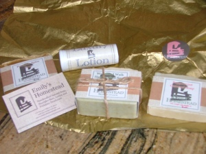 4.5 oz soap: woodland walk 3 oz soap: peppermint oatmeal 3 oz soap: pumpkin spice lotion stick: .75 oz
