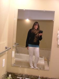White pants: Target, thrifted; black sweater, thrifted; blue tank, Ann Taylor, thrifted; scarf, Amazon