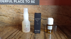 June Jacobs - vanda orchid mist, delux sample ($14 value) Tini Beauty nail lacquire in silver slipper, ($13 value) DHC deep cleanising oil, deluxe sample ($5.50 value)